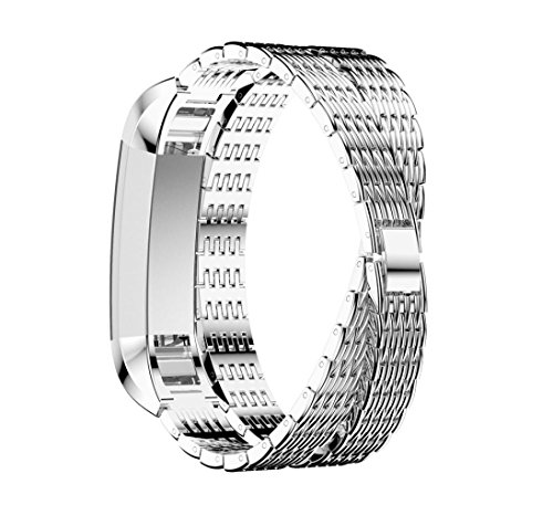 Price comparison product image Boofab for Fitbit Alta HR / Fitbit Alta Band,  Luxury Stainless Steel Fitbit Versa Strap Alloy Crystal Rhinestone Diamon Bracelet for Fitbit Versa Smart Watch (Silver)