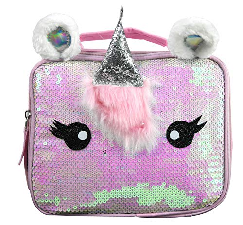 Girls' Deluxe Unicorn Silver Flat Sequin Rectangle Lunch Bag Reusable Tote w/Foil Horn and Ears
