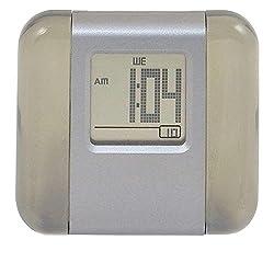 Alarm Clock Wake Up Clock, Small Travel Clock - Aluminum and Acrylic LCD Digital Alarm Clock Morning Clock - Smoke.