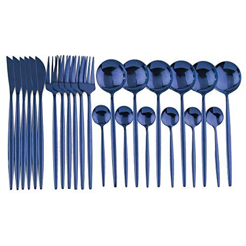 JANKNG 24-Piece Flatware Set, 18/0 Stainless Steel Knife Fork Spoon Teaspoon Silverware Set, Service for 6, MIrror Blue