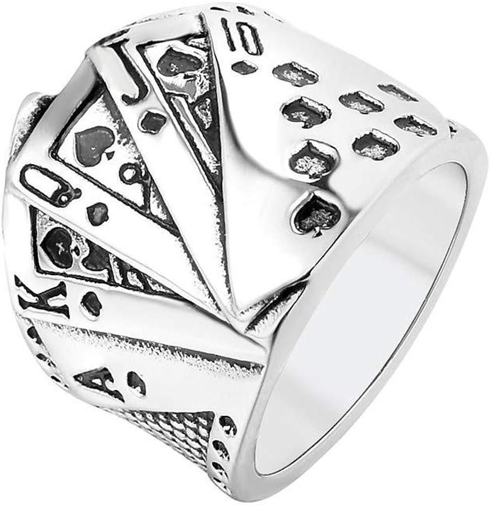 PAMTIER Poker Carte /à Jouer Bague pour Hommes Acier Inoxydable