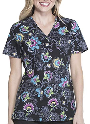 5d07e6109b4 ScrubStar Embrace Lace Womens Mock Wrap Printed Scrub Top (2X-Large)