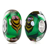 Sinebao Set of 2 Buzzing Bumble Bees Circling the Garden Murano Glass Charm Bead for European Bracelet
