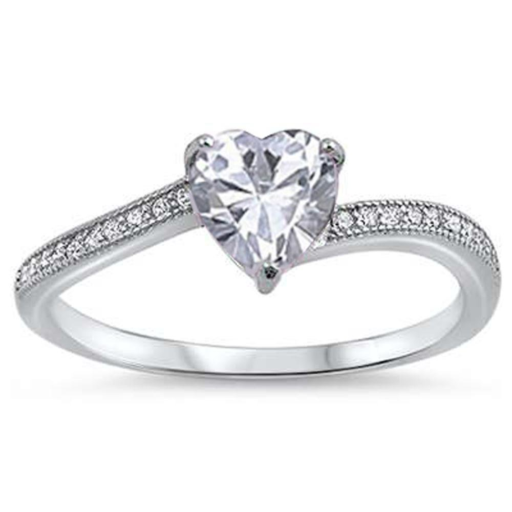 Oxford Diamond Co Heart Shaped Clear Cubic Zirconia Promise .925 Sterling Silver Ring Sizes 6