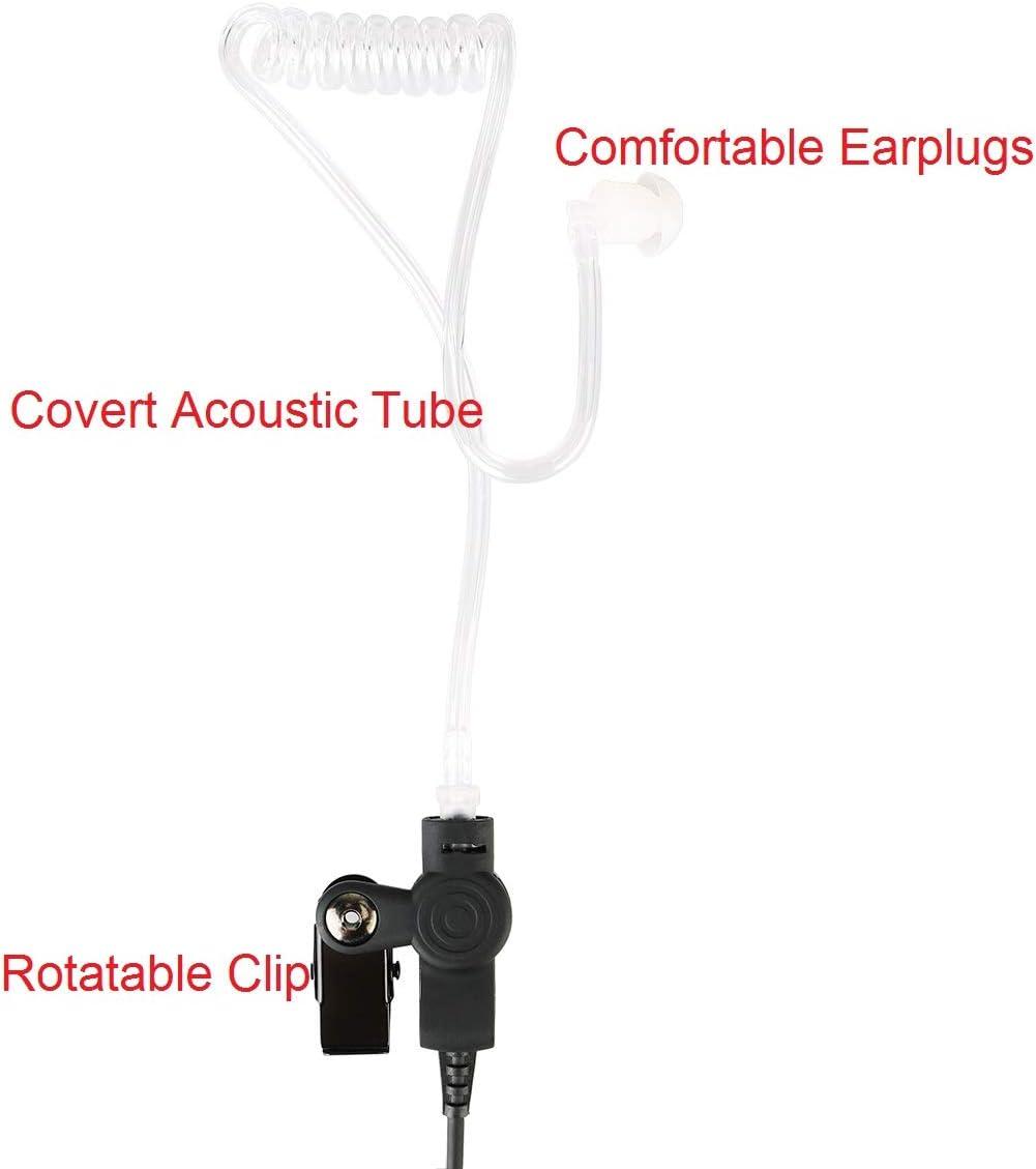 Retevis Two Way Radio Earpiece 2 Pin Covert Acoustic Tube Headset with Mic for Motorola CLS1110 1410 CP100 RDU4100 RMM2050 Walkie Talkies 10 Packs