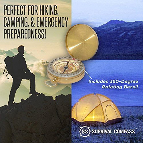 SharpSurvival Camping Compasses & Magnifiers, Best Camping Survival Compass | Glow in the Dark Military Compass | Highest Quality Survival Gear Compass
