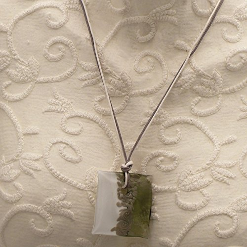 Un Jour ou l'Autre - Collier fantaisie Murano lien gris Blanc médaillon gris Blanc - Promo - 4.5 x 5 cm