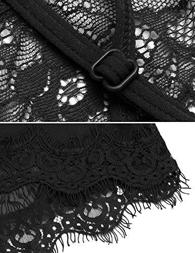 Ababoon Womens Babydoll Lingerie Lace Sexy Off Shoulder One Piece Open Back Teddy Nightwear Black