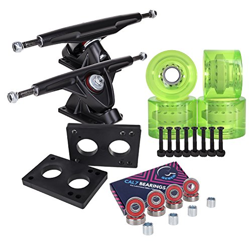 - Longboard 180mm Trucks + 70mm Wheels + Bearings Combo SET (Transparent / Green / Black)