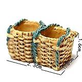 FunnyToday365 Miniature Dollhouse Garden Ornament Pot Plant Craft Home Decor Wicker Gift Baskets