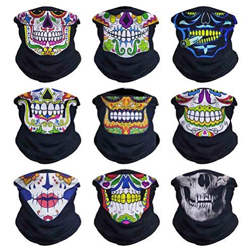 VCZUIUC Skull Headband Face Mask Bandana Head Wrap Scarf Neck Warmer Headwear Balaclava for Sports (T9-Skull Series-4)