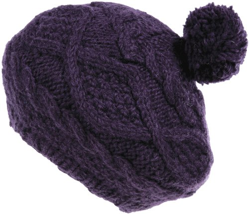 Nirvanna Designs CH701 Wide Cable Beret with Fleece and Pom, Prune