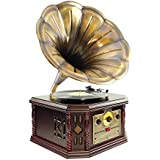 PYLE-HOME PVNP4CD Vintage Phonograph Horn Turntable with CD, Cassette, AM/FM, Aux-In and USB-to-PC Recording