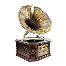 Pyle-Home - Pvnp4cd Vintage Phonograph Horn Turntable with Cd, Cassette, Am/Fm, Aux-in and Usb-to-Pc Recording