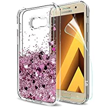 Galaxy A5 2017 Glitter Case with HD Screen Protector for Girls Women,LeYi Cute Bling Shiny Moving Quicksand Liquid Clear TPU Protective Phone Cover Case for Samsung Galaxy A5 2017 ZX Rose Gold