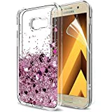 Galaxy A5 2017 Glitter Case with HD Screen Protector for Girls Women,LeYi Fashion Cute Bling Shiny Moving Quicksand Liquid Clear TPU Protective Phone Cover Case for Samsung Galaxy A5 2017 ZX Rose Gold