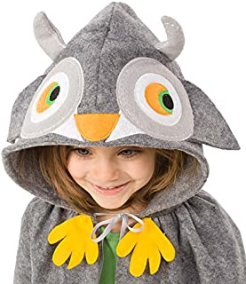 product image for Magic Cabin Forest Friend Animal Dress Up Costume Cloak Cape for Kids, Polyester Felt, 38'' L - Owl