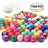 plastic beads for jewelry making - R.FLOWER 1000PCS Colorful Round Earth Beads Solid Color Acrylic Pony Beads for Jewelry Making Kids DIY Bracelets Necklaces(8mm)