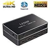 LESHP 1X4 HDMI Splitter High Speed HDMI Switch Amplifier 1 in 4 out, Support HDMI 2.0, HDCP 2.2, 3D, 1080P, True 4K HDMI Splitter Auto EDID