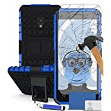 iTALKonline Alcatel OneTouch Pixi 3 (4) 4 Inch Blue Black Tough Hard Shock Proof Rugged Heavy Duty Case Cover with Viewing Stand with Tempered Glass Protective LCD Screen Protector with MicroFibre Polishing Cleaning Cloth Application Card and Headphone mount 3.5mm Retractable Mini Stylus Pen