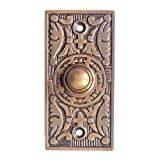 Adonai Hardware Decorative Rectangular Brass Bell Push or Door Bell or Push Button - Antique Brass