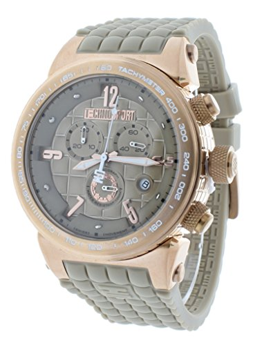 Technosport TS-1300-5 Men's Beige Checkered Swiss Chrono Watch Rose Gold Stainless Steel Case