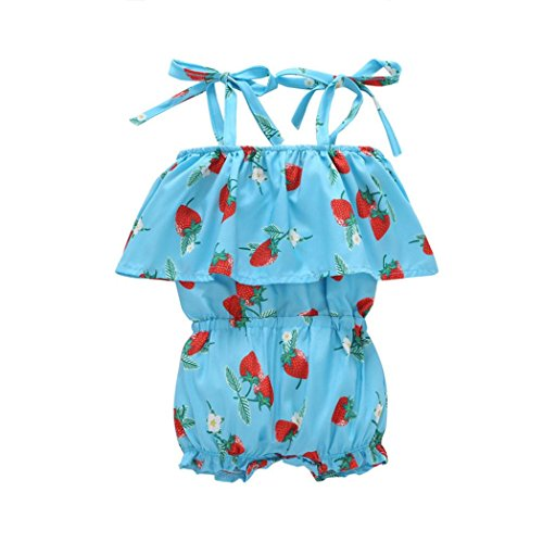 CSSD Toddler Baby Girls Sleeveless Strawberry Print Romper Playsuit Clothes Outfits (18M, Blue)