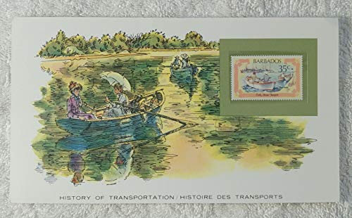 - The Rowboat - Postage Stamp (Barbados, 1982) & Art Panel - The History of Transportation - Franklin Mint (Limited Edition, 1986) - Boat with Oars