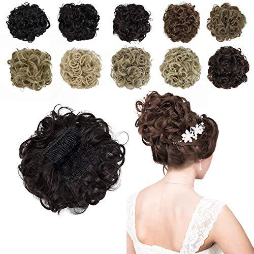 Yamel Messy Curly Hair Bun Extensions Combs Clip in Bun Stretch Chignon Updo Hairpiece Scrunchie Dark Brown