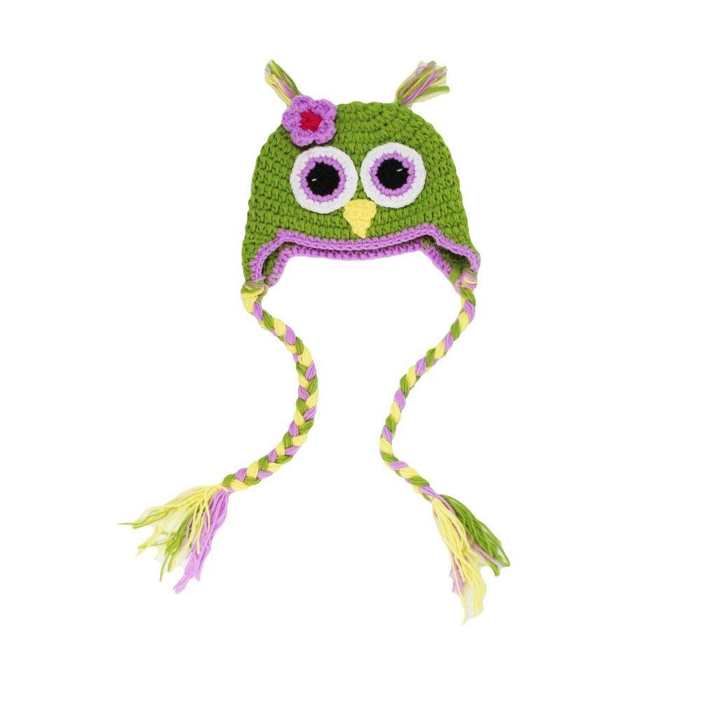 Little Girls Adeline Green Lavendert Crochet Owl Tassels Hat 2-4 Years