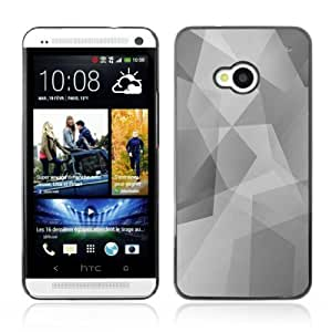 Designer Depo Hard Protection Case for HTC One M7 / Cool Polygon B&W Pattern