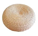 Handcrafted Eco-Friendly Woven Straw Seat Natural Straw Futon Pouf Ottoman (Diameter 50 cm)