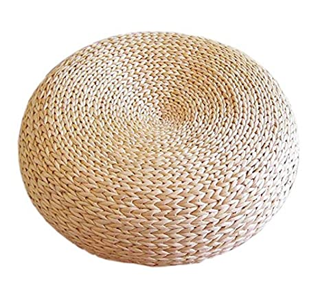 Handcrafted Eco-Friendly Breathable Woven Knitted Straw Seat Cushion Natural Straw Futon Pouf Ottoman Home Decor (Diameter 40 cm) Naturallifestyle