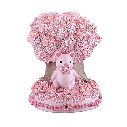 (Colias Wing Children's Creative Cute Cherry /Apple Tree Style Piggy Bank Money Cash Penny Cent Saving Pot Coin Money Storage Box Ornament Stylish Decor Knickknacks Gift (Bear/Pig/Cat/Rabbit))