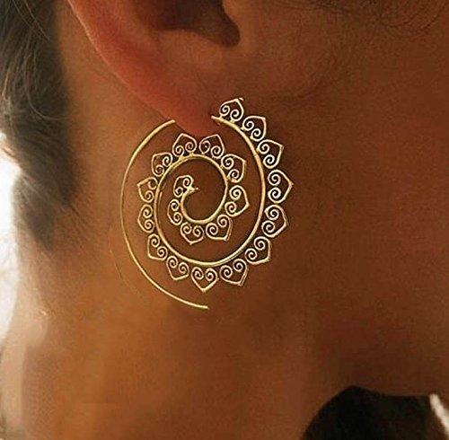 Womens Ethnic Gypsy Swirl Hoop Earrings Bohemia Jewelry