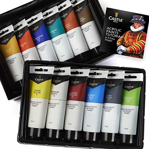 Castle Art Supplies 12 Large Acrylic 75ml Paint Tubes Set for Adults Kids Artists Students   Ideal for Canvas Wood Ceramic Fabric and Nail Art