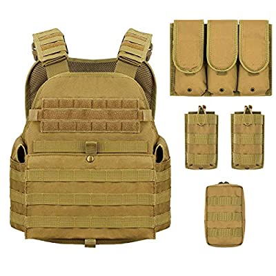 Barbarians MOLLE Tactical Vest, Outdoor Combat Training Vest Adjustable & Lightweight