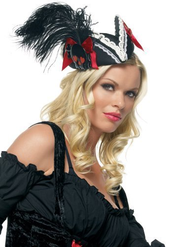 Leg Avenue Pillbox Pirate Hat Black/Red by Leg Avenue