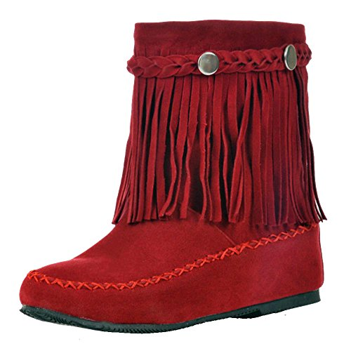 COOLCEPT Women Increasing Low Heel Bootie Shoes Fringe Ankle Boots Red sLPLW8l1P