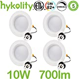 Hykolity 4 inch LED Recessed Downlight, 10W 700LM Dimmable Retrofit Recessed Can Downlight, 3000K Warm White, Damp Location, 50W BR20/65W BR30 Replacement- 4 Pack