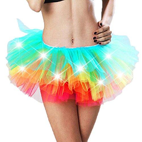 [KeyZone Women Costume Halloween Fancy Dress Rainbow Sequined Corset LED Light Tutu Skirt] (Corsets For Halloween Costumes)