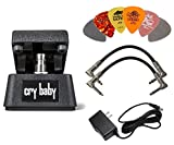 Dunlop CBM95 CRYBABY MINI FX Pedal with Power Adapter,a Pair of Patch Cables and 6 Picks