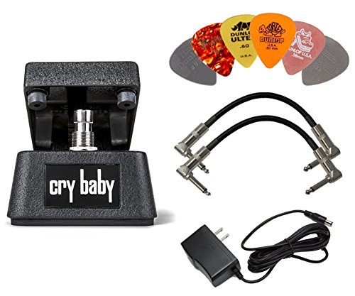 Dunlop CBM95 CRYBABY MINI FX Pedal with Power Adapter,a Pair of Patch Cables and 6 Picks by Brisk-drop