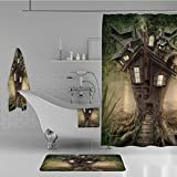 iPrint Bathroom 4 Piece Set Shower Curtain Floor mat Bath Towel 3D Print,House in Mysterious Forest with Windows Smoke,Fashion Personality Customization adds Color to Your Bathroom.