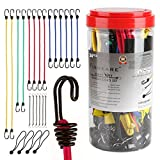 FINNKARE 24 Piece Set Bungee Cord Assortment, Premium Heavy Duty Industrial Quality, 100% Latex Bungee Core, Dual-Wire Extra Strong Hooks, include 40'', 32'', 24'', 18'', 10'' mini and canopy ball, 1075
