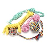 FOCUSPET DoyToys Set, Puppy Dog Pet Rope Toys Braided Rope Chew Durable Interactive Cotton Toys Dental Health Teeth Cleaning for Small to Medium Dogs (Pack of 5 pcs)