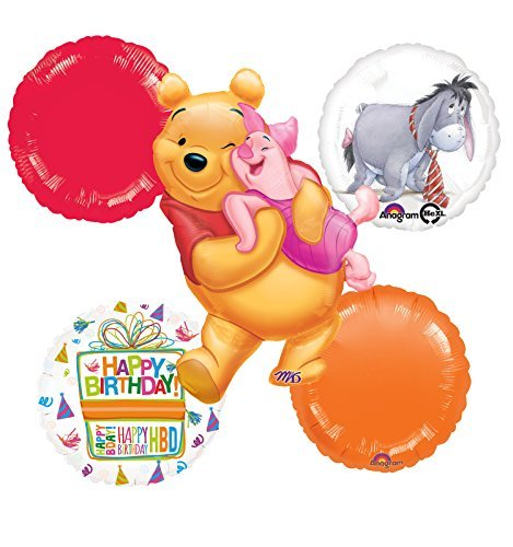 Winnie The Pooh, Piglet and Eeyore Birthday Party Balloon Bouquet Decorations ()