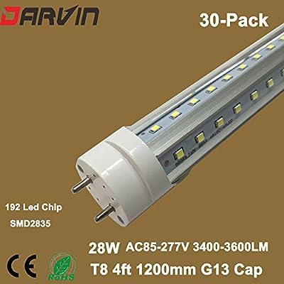 Led Light Wholesalers 4ft T8 1200mm V-Shade Dual-Ends Input AC85-265V 28W
