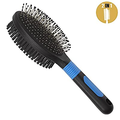 BV Dog Hair Grooming Brush and Comb, 2 In 1 Bristle and Pin