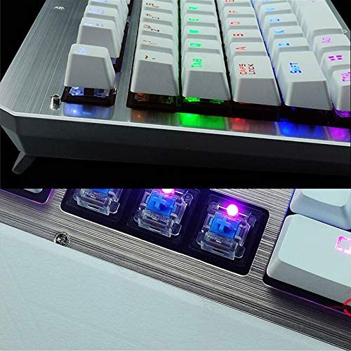 BHGFCGYUH Gaming Mechanical Keyboard USB Wired Blue Switch Metal Panel LED Backlight Teclado Gamer Keyboard with Stickers